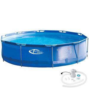 Swimming Pool rund mit Stahlrahmen und Filterpumpe Ø 360 x 76 cm