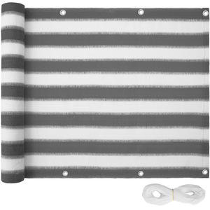 Balkon Sichtschutz, Variante 2 weiß/grau gestreift 75 cm