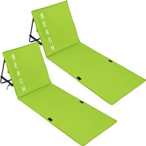 2 Strandmatten mit verstellbaren Lehnen grün
