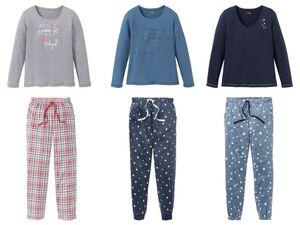 ESMARA® Lingerie Damen Pyjama, Shirt aus Baumwolle, Hose mit Bindeband