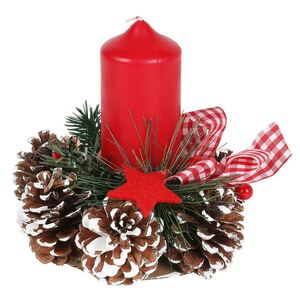 Deko-Adventsgesteck mit 1 Kerzenhalter 15x8cm Rot