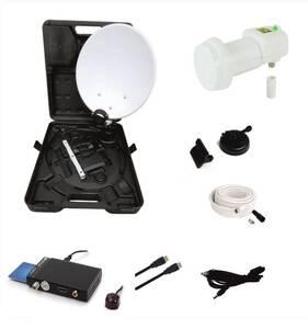 Camping Satelliten Anlage mit HD Receiver, Easyfind LNB und Campingkofferkoffer OPTICUM