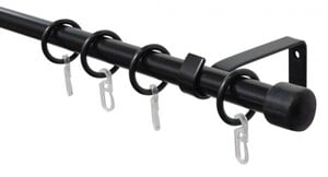 Gardinia Komplett-Set Stilgarnitur ,  schwarz, Ø 16 mm, 1-läufig, 130-240 cm
