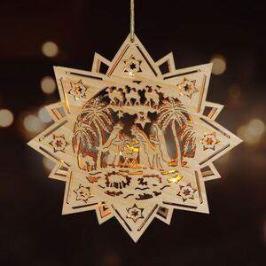 Weihnachts-Holzstern 30cm mit 10 LEDs Des.7