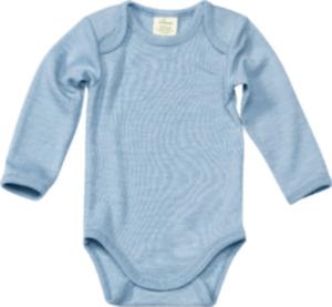 ALANA Baby Body, Gr. 62/68, in Bio-Schurwolle und Seide, blau, für Mädchen und Jungen