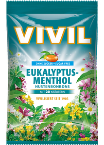 Vivil Husten Bonbons Euka-Menthol zuckerfrei 80 g