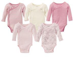 LUPILU® PURE COLLECTION Baby Body Mädchen, reine Bio-Baumwolle, trocknergeeignet, 5 Stück