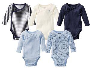 LUPILU® PURE COLLECTION Baby Body Jungen, reine Bio-Baumwolle, mit Druckknöpfen, 5 Stück