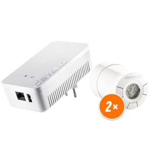 devolo Home Control Smartes Heizkörperpaket 2er Set [Zentrale + 2x Heizkörperthermostat, steuert deine Heizung]