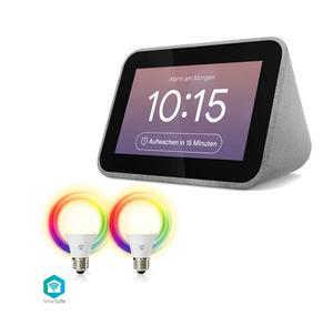 Lenovo Smart Clock mit Google Assistant + Nedis WLAN Smart LED Lampenset 2er Pack