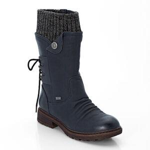 Rieker Damen Stiefel, Falten-Optik, elastischer Schaftrand, Zier-Schnürung