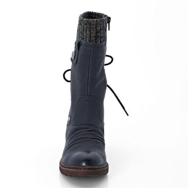 Rieker Damen Stiefel, Falten Optik, elastischer Schaftrand, Zier Schnürung