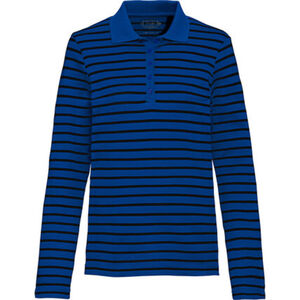 Adagio Damen Streifen-Langarm-Poloshirt