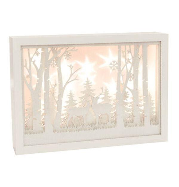 Galeria Selection Deko-Rahmen, LEDs, Schneelandschaft, 30cm, weiß