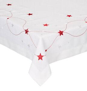 Galeria Selection Tischdecke, Sternen-Band, 85 x cm, weiß/rot