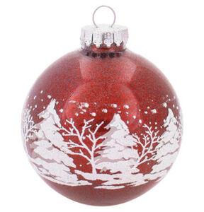 Galeria Selection Weihnachtskugel, Glas, 8 cm, Wald-Motiv