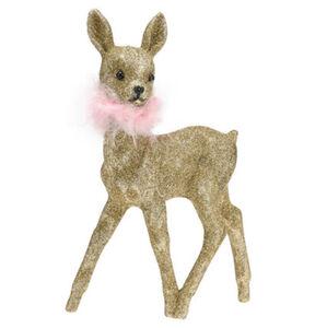 """Galeria Selection Weihnachtsfigur """"Rentier"""", 23 cm, golden, rosa Federn, glitzernd"""