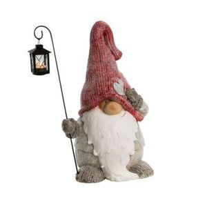 Pureday Deko-Figur 'Weihnachtswichtel mit Laterne', rot/grau, Polyresin, Metall, rot/grau