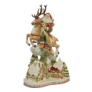 Fitz&Floyd Figur Santa mit Häusern, Bunt