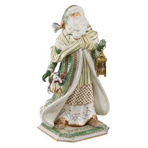 Fitz&Floyd Figur Santa im grünen Mantel, Bunt