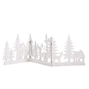 Pureday Weihnachts-Silhouette 'Waldzauber', Weiß, weiß
