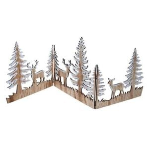 Pureday Weihnachts-Silhouette 'Zauberwald', Natur/Weiß, Holz, natur/weiß