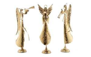 Engel-Figur Cory aus Eisen in goldfarbig