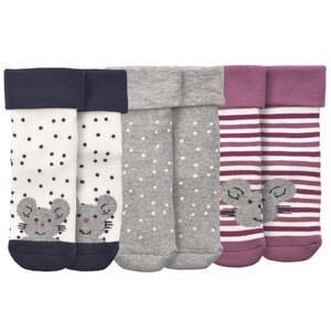 3 Paar Baby Socken mit Maus-Motiv