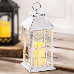 """I-Glow XL-Laterne """"Quadrat"""" mit LED Kerze - Weiß """"Shabby Chic"""""""