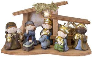 Weihnachtskrippe - aus Holz - 26 x 12 x 14,5 cm