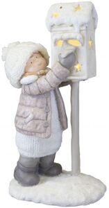Winterkind mit LED-Briefkasten - aus Magnesia - 21,5 x 16,5 x 41,5 cm