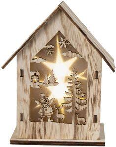 LED-Haus - aus Holz - 12 x 7 x 15 cm