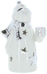 Windlicht - Schneemann - aus Keramik - 9,5 x 7 x 16,5 cm
