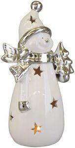 Windlicht - Schneemann - aus Keramik - 9,5 x 8 x 20,5 cm