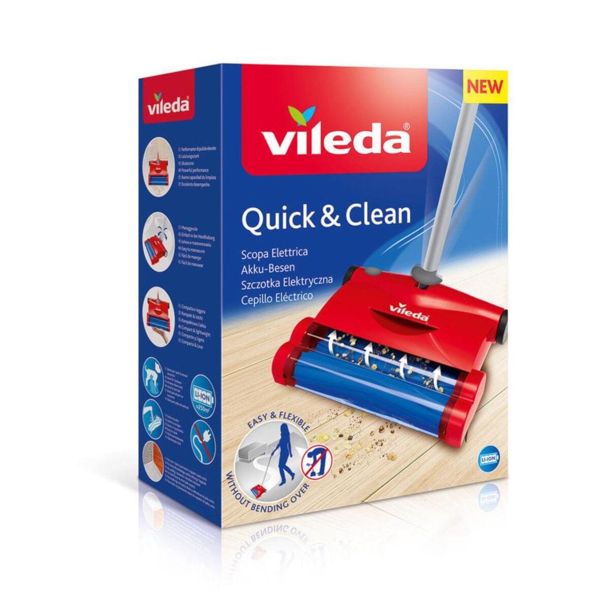 Bild 4 von Vileda Quick & Clean Akkubesen Teppichkehrer Rot Kehrbesen Besen Handstaubsauger
