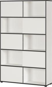 Germania Schiebetürregal 4037-73 GW-Laredo in Weiß/Schwarz, mit fünf Schiebetüren, 120 x 196 x 35 cm (BxHxT)