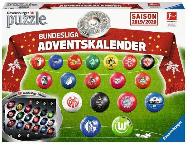 Ravensburger 3D Bundesliga Adventskalender 2019, 18 x 27 Teile, 11681