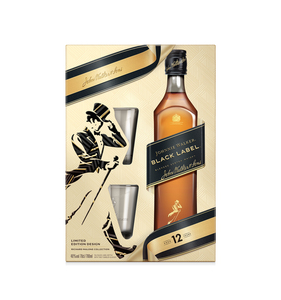 Johnnie Walker Black Label Blended Scotch Whisky + 2 Tumbler Geschenkpackung| 40 % vol | 0,7 l