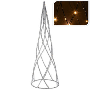 LED-Pyramide - silber - Metall - 60 cm