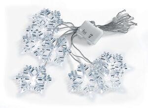 Dekor LED-Lichtervorhang - Schneeflocken, kaltweiß