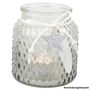 Windlicht 10 cm aus Glas mit Feder und Sternenanhänger