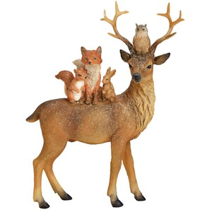 Dekofigur Hirsch mit Glitter und Tierfreunden