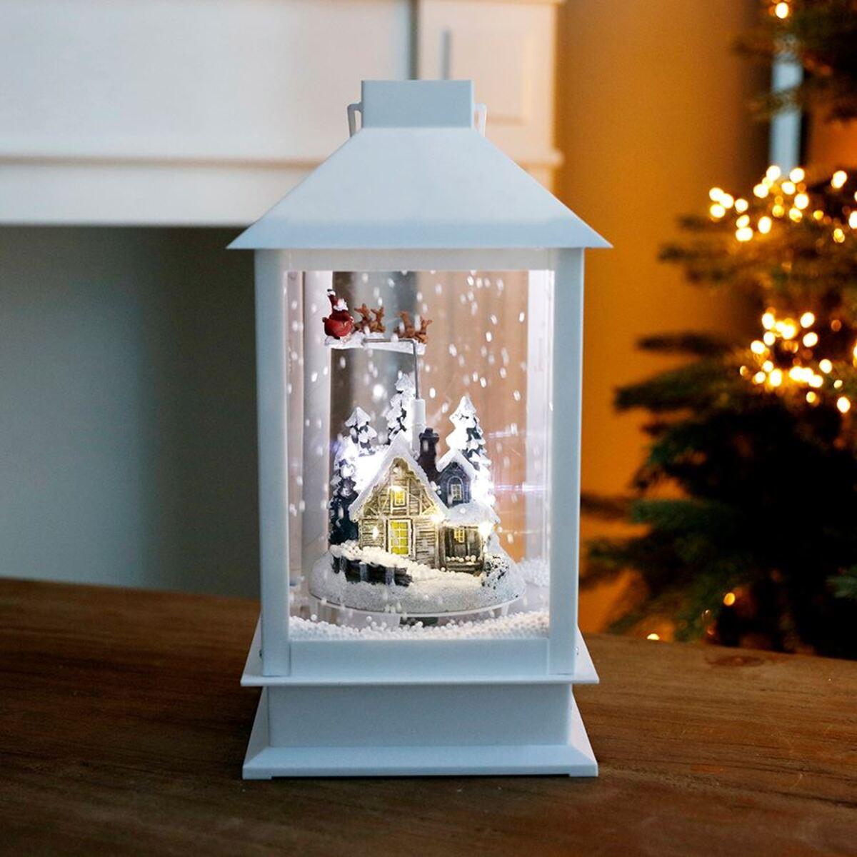 Bild 2 von LED-Weihnachtslaterne Schneegestöber 37cm Weiß