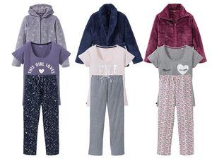 ESMARA® Lingerie Damen Pyjama, 3-teilig, Jacke aus Plüsch, Hose mit Bindeband