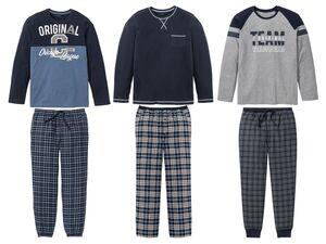 LIVERGY® Herren Pyjama, aus Baumwolle, Hose mit seitlichen Eingrifftaschen