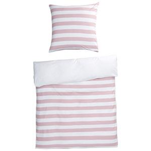Feinbiber-Bettwäsche Streifen (135x200, rosa-grau, GOTS-zertifiziert)