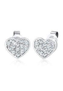 Elli Ohrringe Herz Liebe Swarovski® Kristalle 925 Silber Noble, Silber, silber