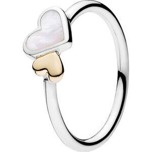 """Pandora Damen Ring Zarte Herzen """"190998MOP"""", 925er Silber, 585er Gold, 54, silber"""