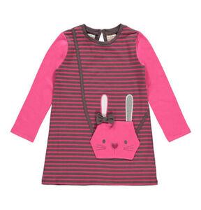manguun Tageskleid, Tasche in Hasen-Optik, Schleifen-Detail, gestreift, gerader Schnitt, für Mädchen, pink, 122