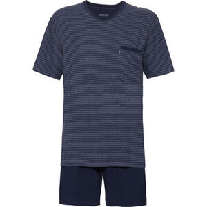 Ammann Herren-Schlafanzug, kurz, dunkelblau, 56